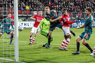 ALKMAAR , 15-12-2019 , AFAS Stadion , Dutch football , Eredivisie , season 2019 / 2020. AZ player Myron Boadu scores the 1-0 during the match AZ vs Ajax