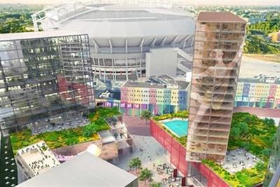 En zo moet de zuidzijde van de JC Arena er over een tijdje uitzien. © Gemeente Amsterdam
