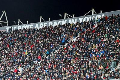 ALKMAAR , 15-12-2019 , AFAS Stadion , Dutch football , Eredivisie , season 2019 / 2020. Fans in the stands during the match AZ vs Ajax
