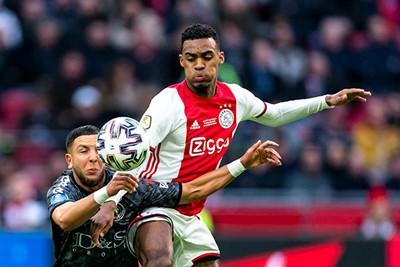 AMSTERDAM, 19-01-2020, football, Johan Cruijff ArenA, Dutch eredivisie, season 2019-2020, Sparta player Mohamed Rayhi (L), Ajax player Ryan Gravenberch (R), during the match Ajax - Sparta,