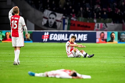 AMSTERDAM, 10-12-2019 , JohanCruyff Arena, season 2019 / 2020 of the UEFA Champions League between Ajax and FC Valencia. /a15/ and Ajax player Joel Veltman dejected after the lost game