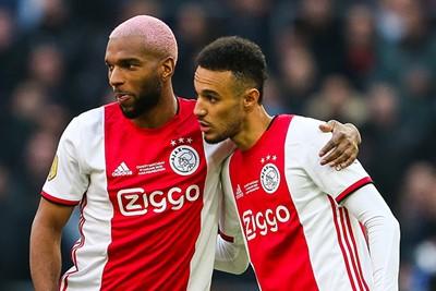 AMSTERDAM - Ajax - Sparta , Football , Season 2019/2020 , eredivisie , Johan Cruijff ArenA, 18-12-2019 ,Ajax player Ryan Babel, Ajax player Noussair Mazraoui