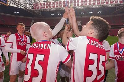 Na Ajax - Emmen (4-0) kan de kampioensbanier in de nok van de Arena gehesen worden. © Pro Shots