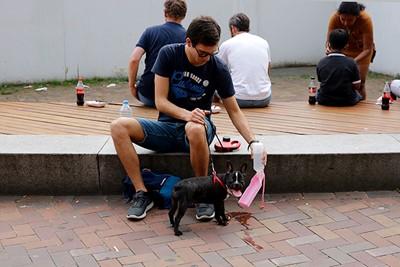 Ook deze hond drinkt uit een flesje zonder dop, prima conform voorschrift! © De Brouwer