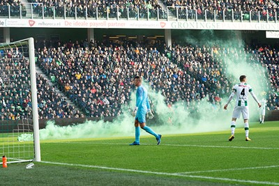 GRONINGEN ,  26-01-2020 Euroborg stadium, Dutch Eredivisie Football season 2019 / 2020 . Fire work on the pitch    during the match FC Groningen - Ajax