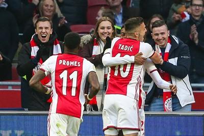 AMSTERDAM - Ajax - Sparta , Football , Season 2019/2020 , eredivisie , Johan Cruijff ArenA, 18-12-2019 ,Ajax player Ryan Gravenberch scores 2-0, Ajax player Dusan Tadic, Ajax player Quincy Promes
