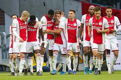 AMSTERDAM - Ajax - Sparta , Football , Season 2019/2020 , eredivisie , Johan Cruijff ArenA, 18-12-2019 ,Ajax player Ryan Gravenberch scores 2-0