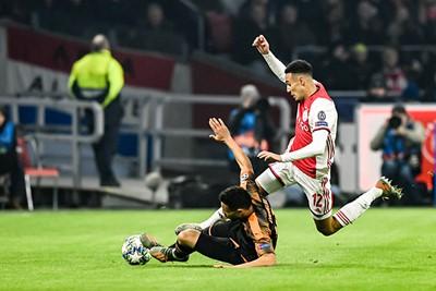AMSTERDAM, 10-12-2019 , JohanCruyff Arena, season 2019 / 2020 of the UEFA Champions League between Ajax and FC Valencia. Ajax player Noussair Mazraoui