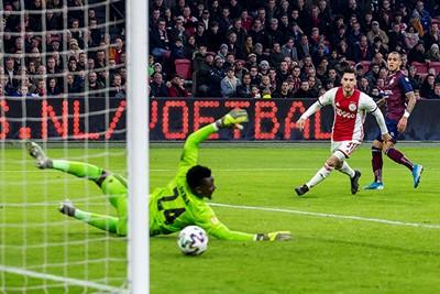 AMSTERDAM - 06-12-2019, Johan Cruijff Arena Dutch football, Eredivisie season 2019-2020. Willem II player Damil Dankerlui scores the 0-2 during the match Ajax - Willem II.